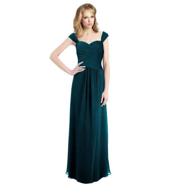 Sophisticated Chiffon Floor Length Formal Evening Gown Bridesmaid Dress Teal 171370291320
