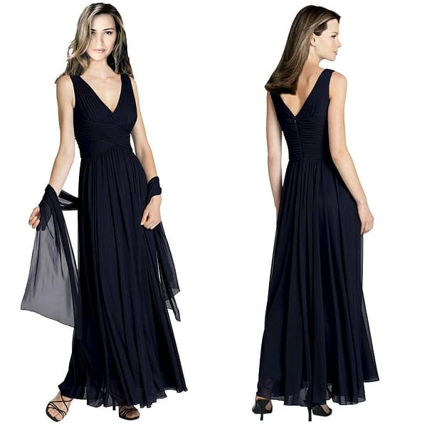 Variation of Pleated Flowing Formal Evening Gown Bridesmaid Dress with shawl Dark Navy 400736619294 3c26