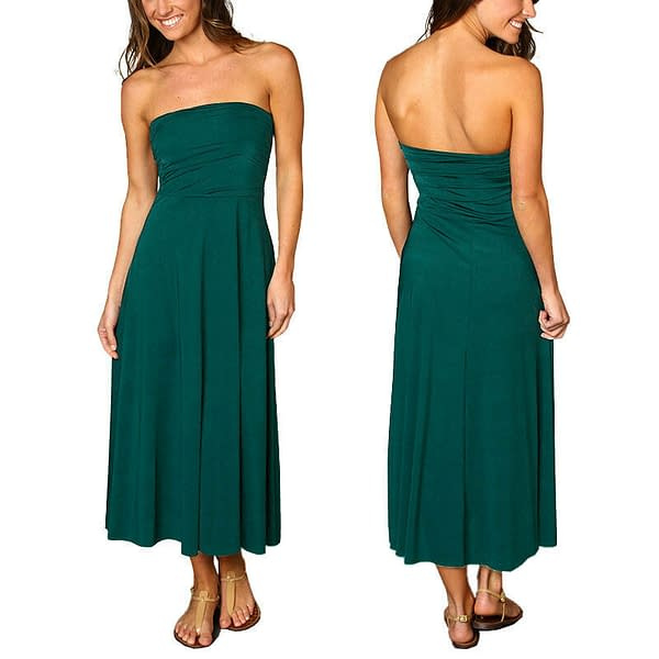 A line Chic strapless Jersey Cocktail Party Day Dress Convertible Skirt Teal 171375431331