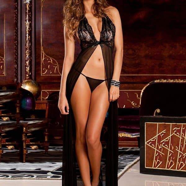 Elegant Black Long Sheer Lace Evening Night Gown Lingerie 6171 Size S to L 191290759047