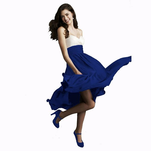 Sweetheart Two Tone Mid calf Bridesmaid Cocktail Party Dress Soft Satin Blue 191234589202