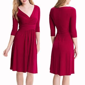 3/4 Sleeves Ruched Jersey Flare Cocktail V-Neck Dress Fuchsia
