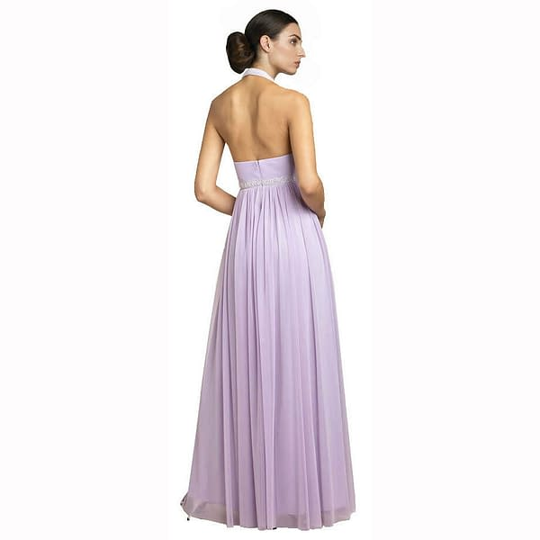 Beaded Halter Neck Full Length Formal Evening Gown Bridesmaid Dress Lilac 400736447875 2