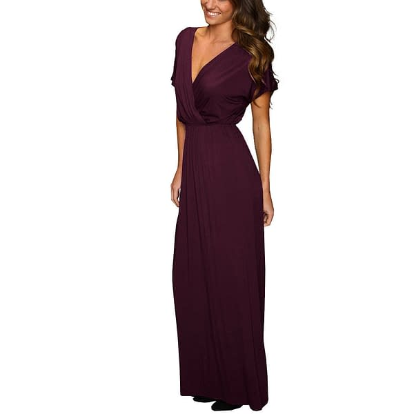 Short Sleeve Long Maxi Jersey Cocktail Party Evening Dress Eggplant 191234434813 3