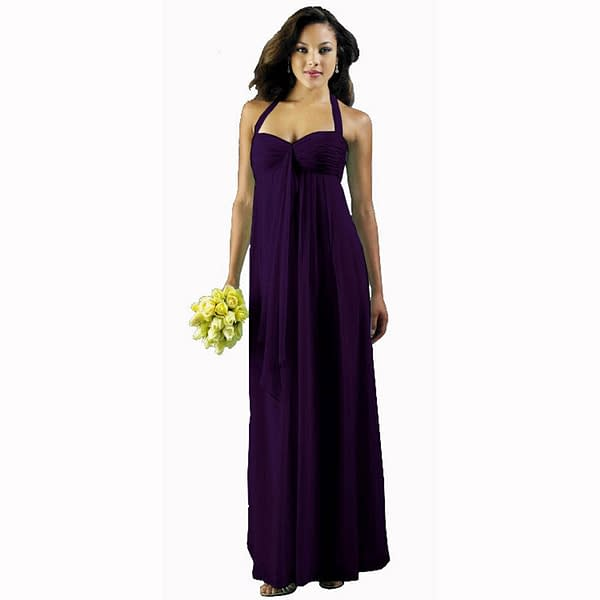 Long Flowing Ruffled Front Formal Bridesmaid Evening Dress Maxi Gown Deep Purple 191234588591