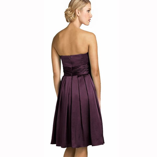 A Line Strapless Knee Length Satin Cocktail Party Bridesmaid Prom Dress Plum 171375489549 2
