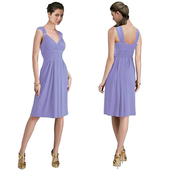 Light Shirred Stylish Knee Length Cocktail Party Day Dress Lavender 171493362686