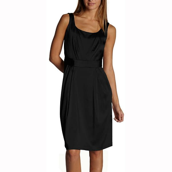 Sleeveless Scoop neck Satin Formal Cocktail Party Day Bridesmaid Dress Black 400736597676
