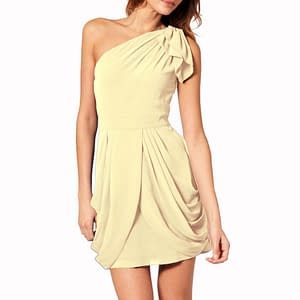 Chic One Shoulder Short Chiffon Party Dress Champagne