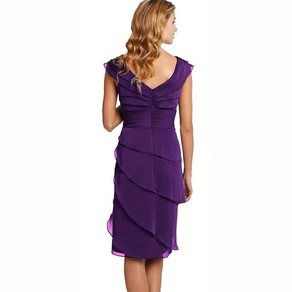 Tiered Fashion Formal Knee Length Cocktail Party Evening Dress Deep Purple 171375432143 2