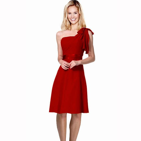 Sexy Overlay One Shoulder Knee Length Cocktail Bridesmaid Party Dress Scarlet 172529064144