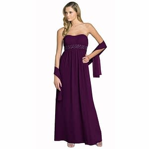 Beaded Strapless Formal Long Evening Gown with Shawl Plum