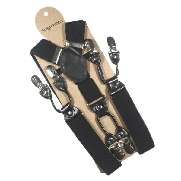 Variation of Men039s 35mm Wide Suspenders 6 Clips Adjustable Elastic Leather Braces Trousers 174128189654 b8a2