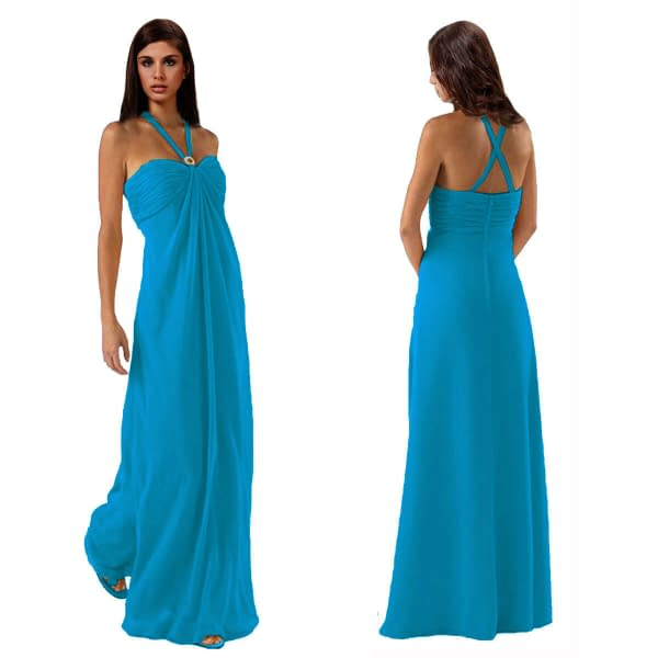 Gorgeous Long Flowing Formal Bridesmaid Dress Evening Party Night Gown Blue 400735966776