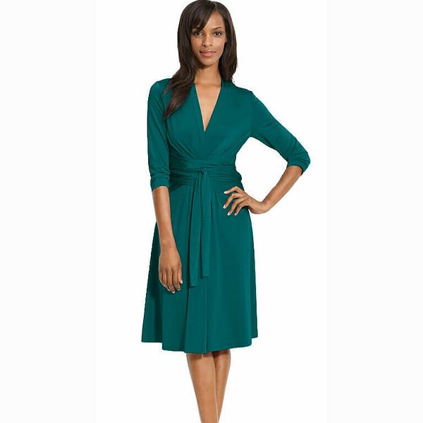Fluid Wrap Jersey Sleeve Dress Day Night Cocktail Party Casual Wear Teal 400736565098