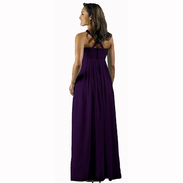 Long Flowing Ruffled Front Formal Bridesmaid Evening Dress Maxi Gown Deep Purple 191234588591 2