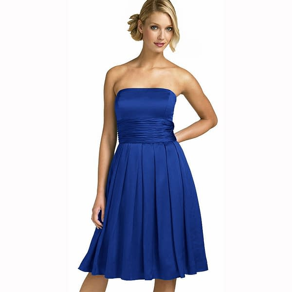 A Line Strapless Knee Length Satin Cocktail Party Bridesmaid Prom Dress Blue 191230072090