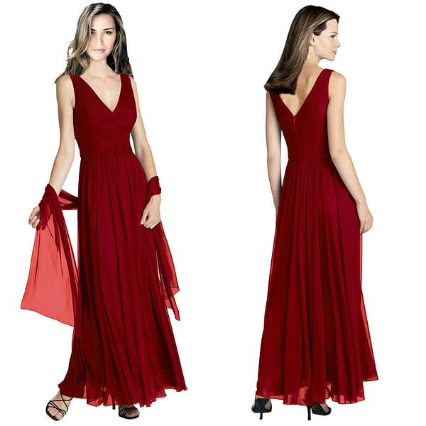 Pleated Flowing Formal Evening Gown Bridesmaid Dress with shawl Burgundy 191233561738