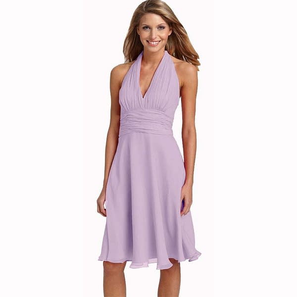 New Halter Neck Chiffon Cocktail Party Dress Lilac