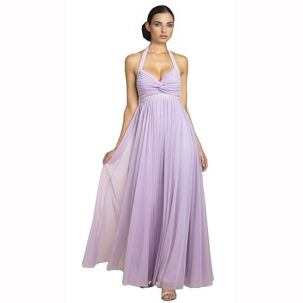 Beaded Halter Neck Full Length Formal Evening Gown Bridesmaid Dress Lilac 400736447875