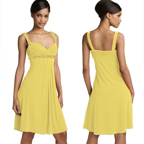 Sexy Beaded Knee Length Formal Cocktail Party Club Prom Dress Light Yellow 192109279458