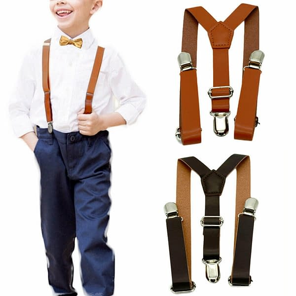 Faux Kids Leather Braces with Bow Set
