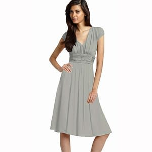 Ruched Cap Sleeves Chiffon Cocktail Dress Grey