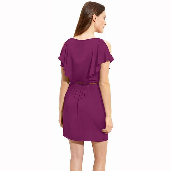 Ruffle Scoope Neck Chiffon Blouson Shift Cocktail Dress Club Party Wear Orchid 172530657315 2