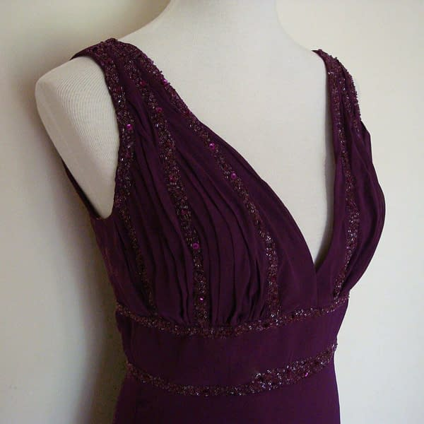 V Neck Sleeveless Beaded Formal Cocktail Party Dress Evening Gown Plum 192110711414 2
