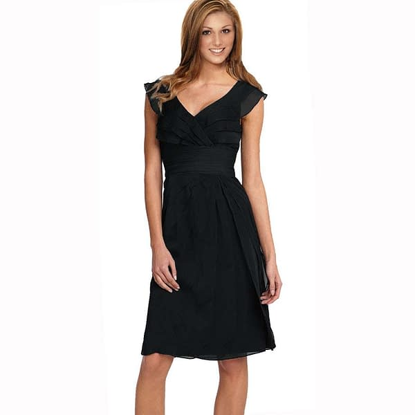 Tiered Fashion Formal Knee Length Cocktail Dress Black