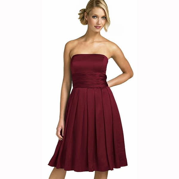 A Line Strapless Knee Length Satin Cocktail Party Bridesmaid Prom Dress Burgundy 171376215730