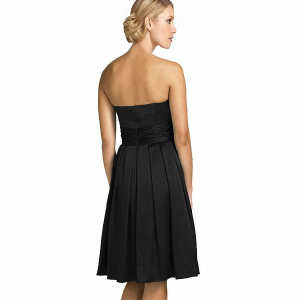 A Line Strapless Knee Length Satin Cocktail Party Bridesmaid Prom Dress Black 191234672513 2