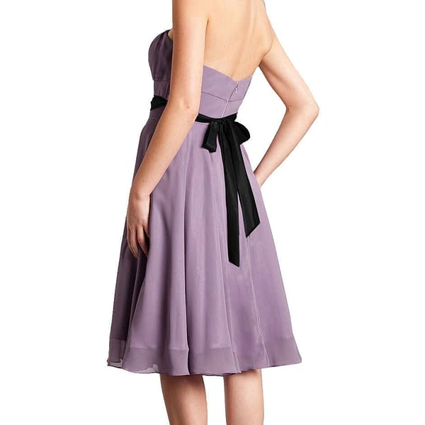 Sexy A Line Strapless Chiffon Formal Bridesmaid Cocktail Party Dress Black 191232414195 5