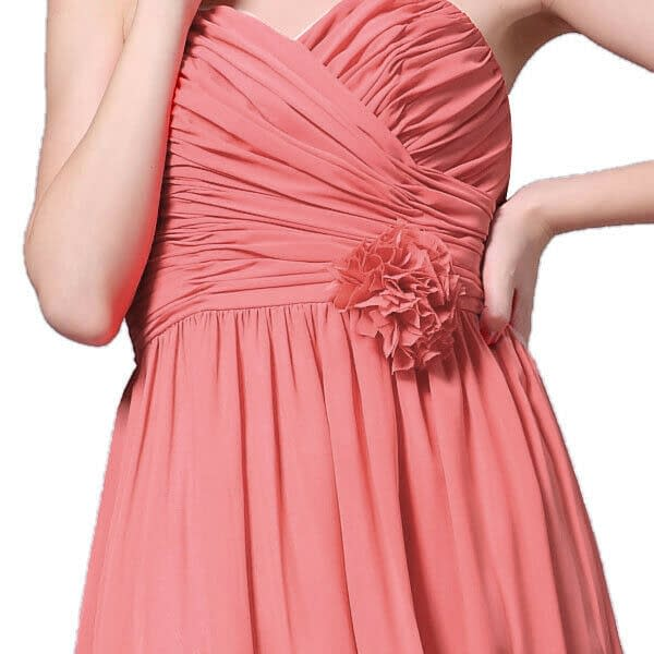 Strapless Full Length Chiffon Bridesmaids Dress Formal Evening Gown Coral Red 191230277435 8