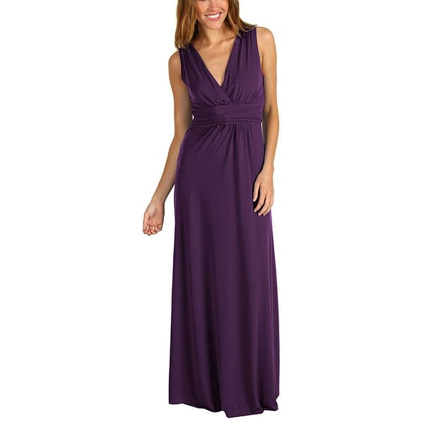 Chic Sleeveless Long Jersey Maxi Cocktail Party Evening Dress Purple 400736447919