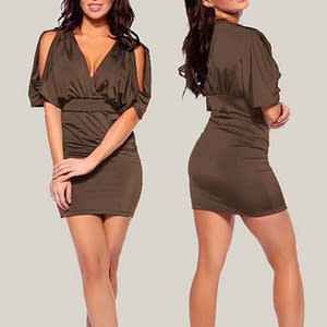 Batwing Sleeve with split Empire Party Dress Coffee