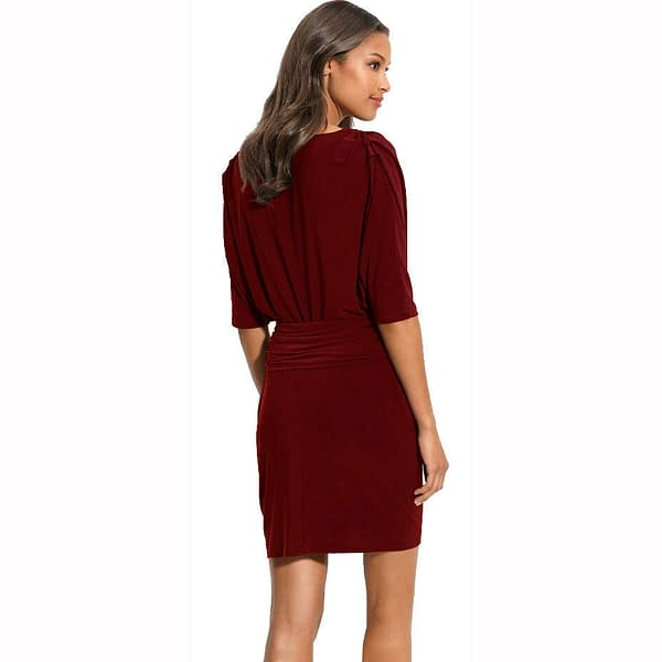 Batwing Sleeves Crewneck Jersey Party Day Night Cocktail Evening Dress Burgundy 191233597900 2