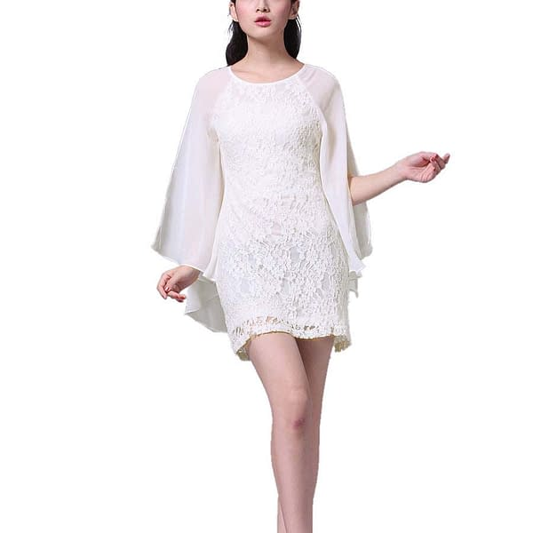 Short Chiffon Cocktail Club Party Lace Dress Ivory