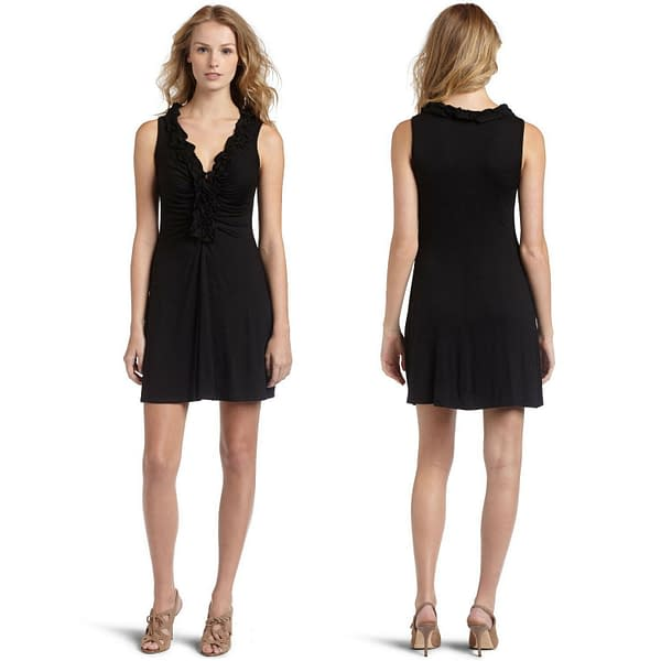 Ruffle V Neck Cocktail Evening Party Clubwear Dress co9635 Black 171465244597