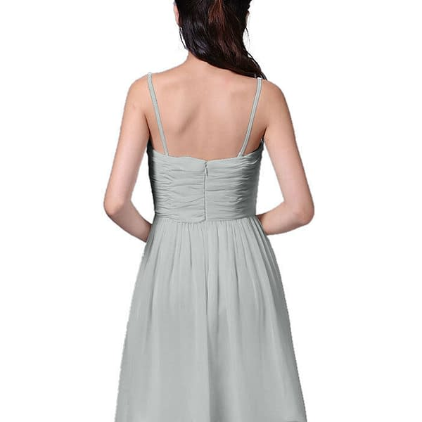 Strapless Full Length Chiffon Bridesmaids Dress Formal Evening Gown Silver Grey 400733352105 7