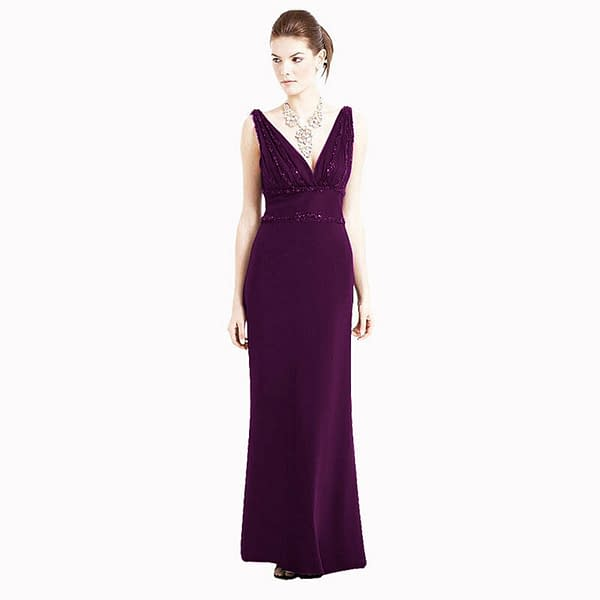V Neck Sleeveless Beaded Formal Cocktail Party Dress Evening Gown Plum 192110711414