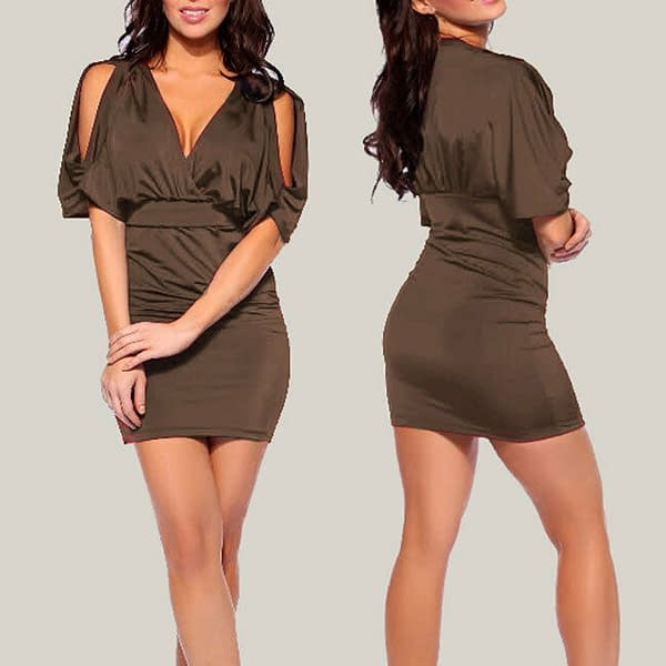 Batwing Sleeve with split Empire Party Mini Dress co9704 Coffee 171465256799