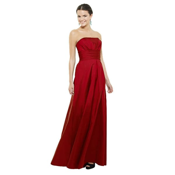 A Line Strapless Pleated Taffeta Formal Evening Gown Bridesmaid Dress Scarlet 400735337675