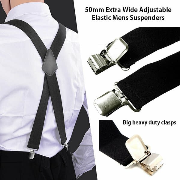 Mens 50mm Wide Suspenders Heavy Duty Elastic Leather Clip On Braces Trousers 193257262126 2
