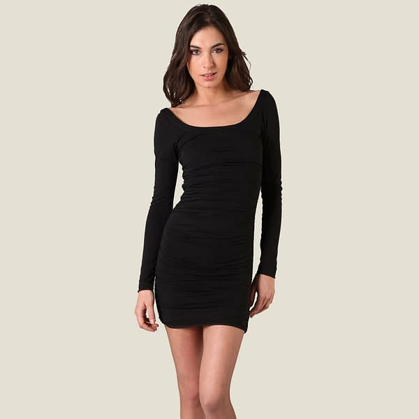 Long Sleeves Scoop neck Jersey Day Night Party Dress co9730 Black 191335471481 2