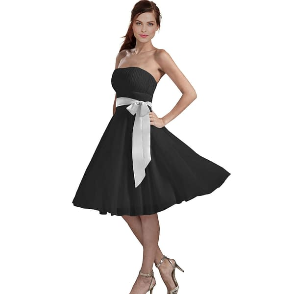 Sexy A Line Strapless Chiffon Formal Bridesmaid Cocktail Party Dress Black 191232414195
