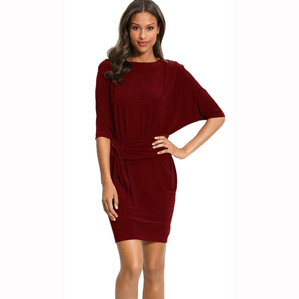 Batwing Sleeves Crewneck Jersey Party Day Night Cocktail Evening Dress Burgundy 191233597900