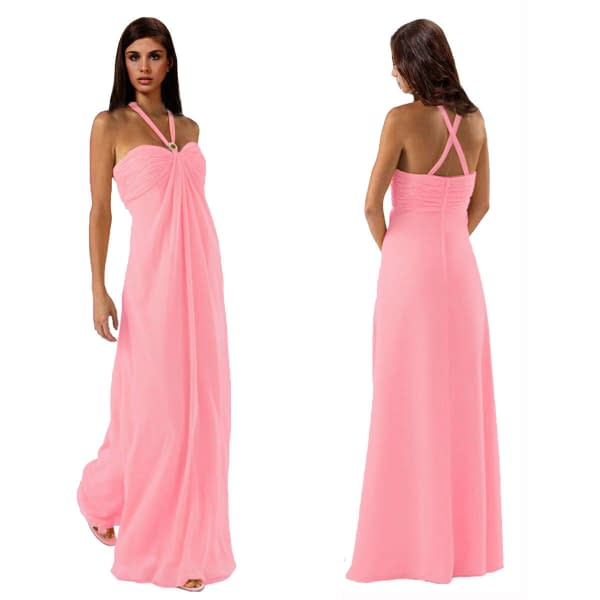 Gorgeous Long Flowing Formal Bridesmaid Dress Evening Party Night Gown Pink 172546826492
