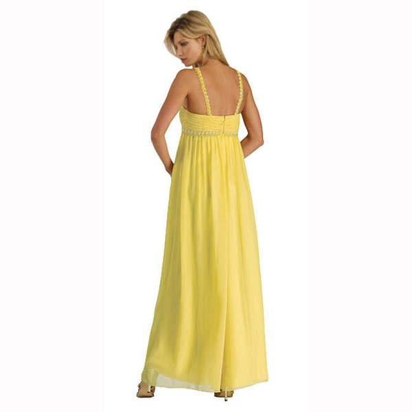 Sweetheart Long Flowing Maxi Formal Evening Party Gown Bridesmaid Dress Yellow 400733756574 2