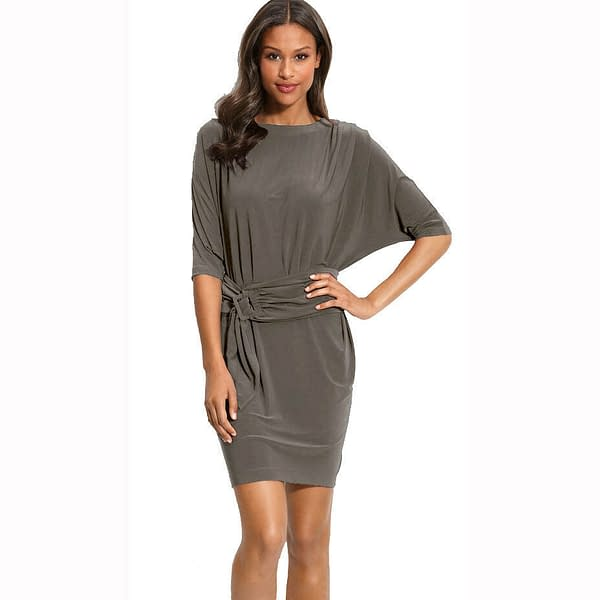 Batwing Sleeves Crewneck Jersey Party Day Night Cocktail Evening Dress Dark Grey 171375489582